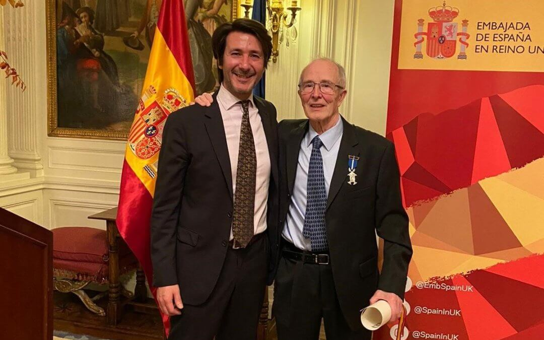 President of Miguel de Cervantes Association Ramon Blasco given Silver Civil Merit Medal from Spanish Ambassador for his outstanding work