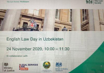 Oksana Howard attends the online English Law Day in Uzbekistan