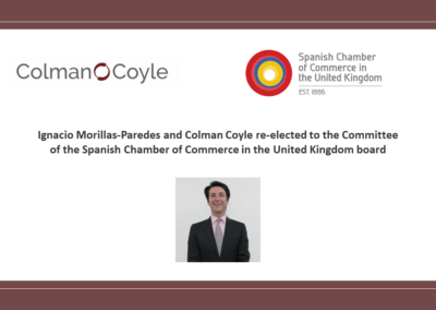 Colman Coyle re-elected to the Committee of the Spanish Chamber of Commerce in the United Kingdom board